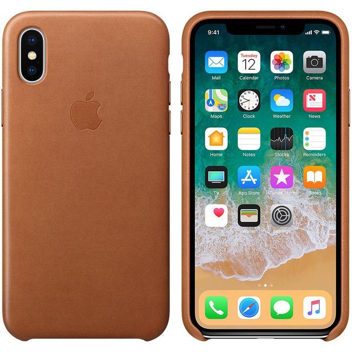 APPLE Kožené púzdro pre iPhone X Sad/Br