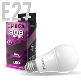 INESA LED žiarovka E27/GLS/9W/3000K/806lm