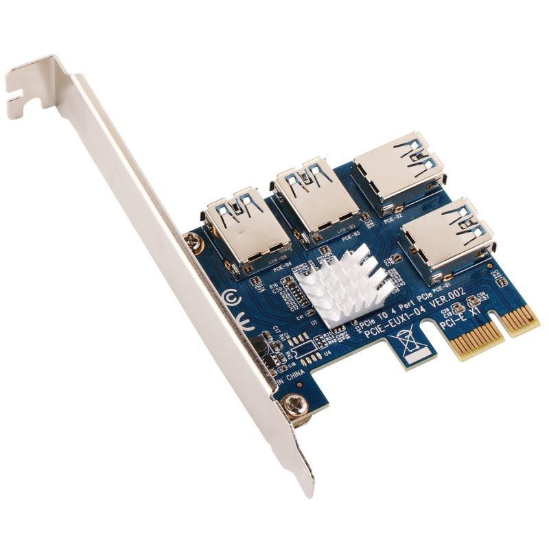 ANPIX Adaptér z PCI-E 1x na 4 porty pre RISER