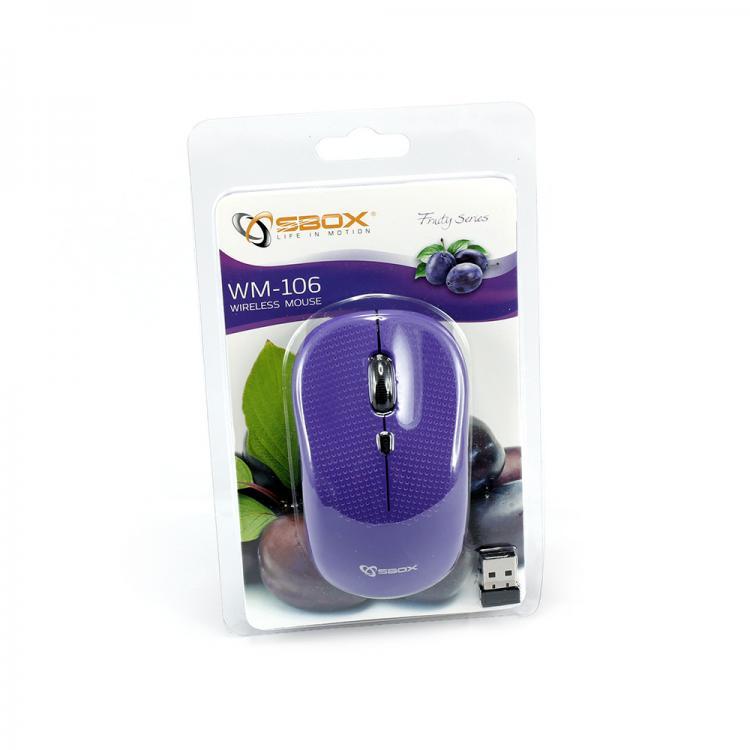 SBOX 4D Optická bezdrôtová myš Purple