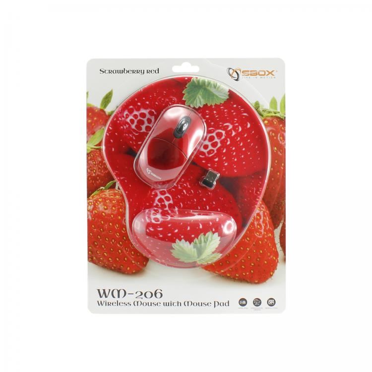SBOX 3D Optická bezdrôtová myš red + podložka