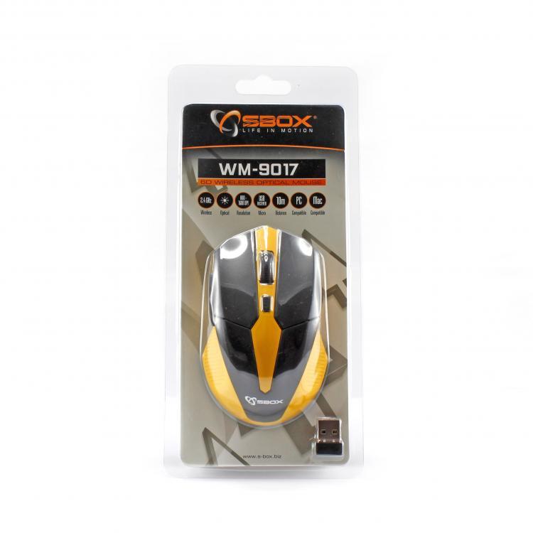 SBOX 6D Optická bezdrôtová myš blk/yel WM-9017BY