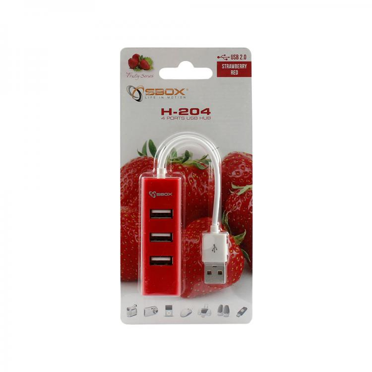 SBOX H-204R red USB 2.0 port 4x