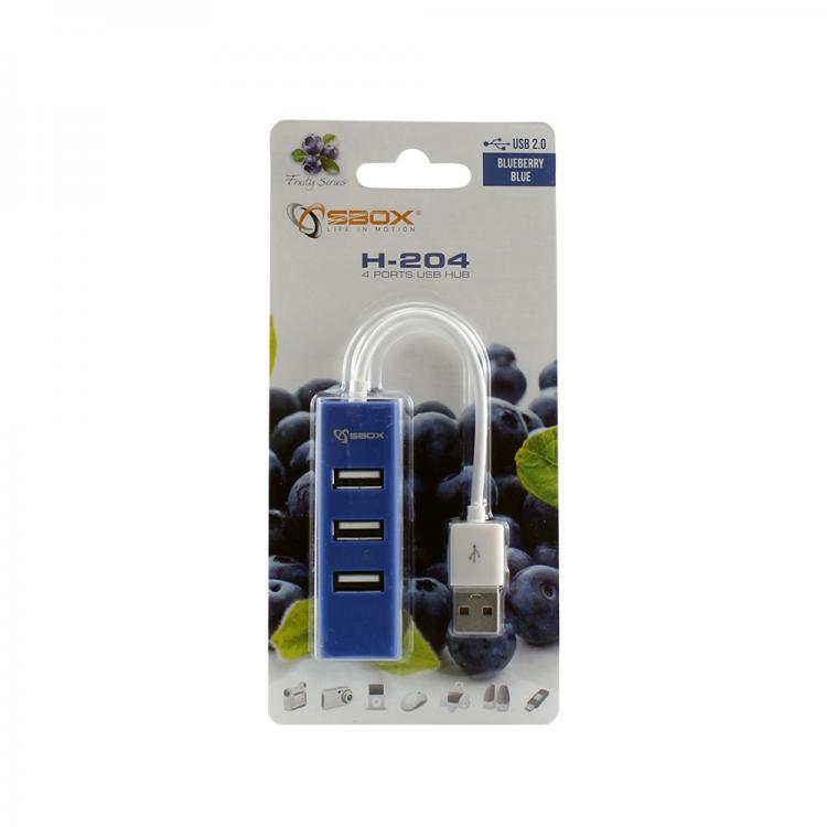 SBOX H-204BL blue USB 2.0 port 4x