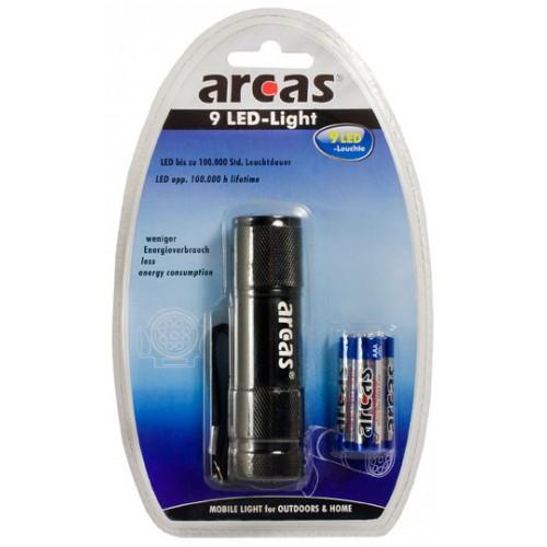 ARCAS LED LIGHT 9, LED Baterka čierna