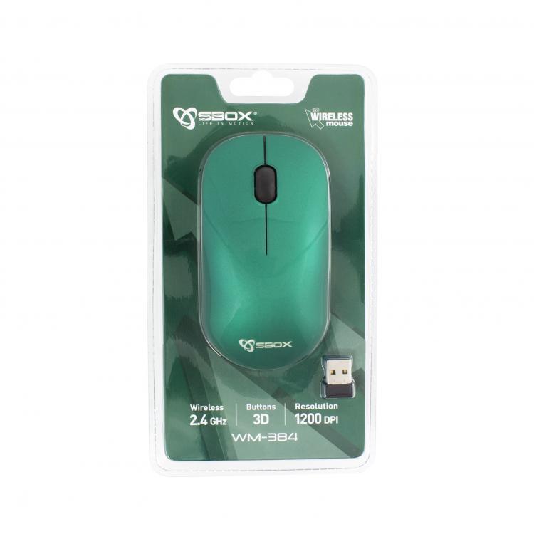 SBOX 3D Optická bezdrôtová myš green