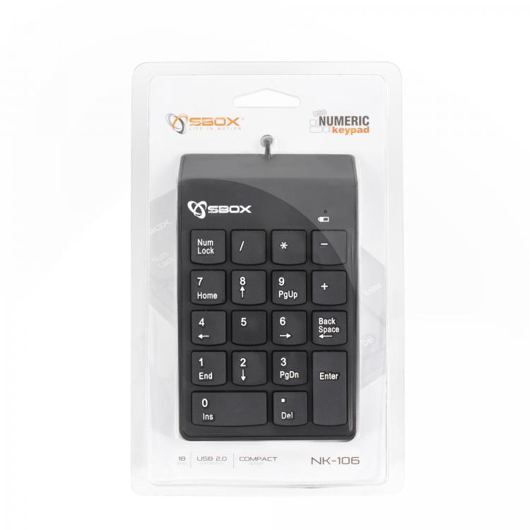 SBOX Numerická USB klávesnica NK-106