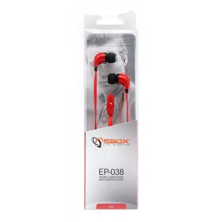 SBOX EP-038R, Slúchadlá do uší s mikr. Red