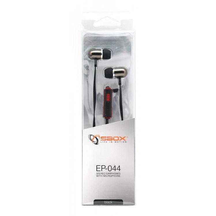 SBOX EP-044B, Slúchadlá do uší s mikr. Black