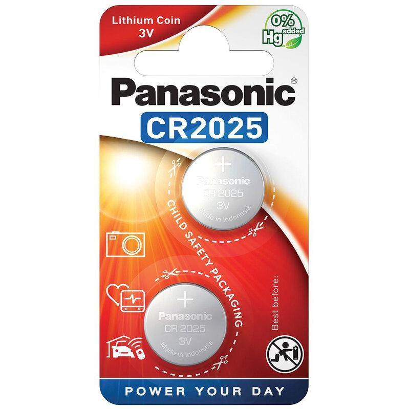 PANASONIC Lithium, Batérie, CR2025, 3V, 2ks