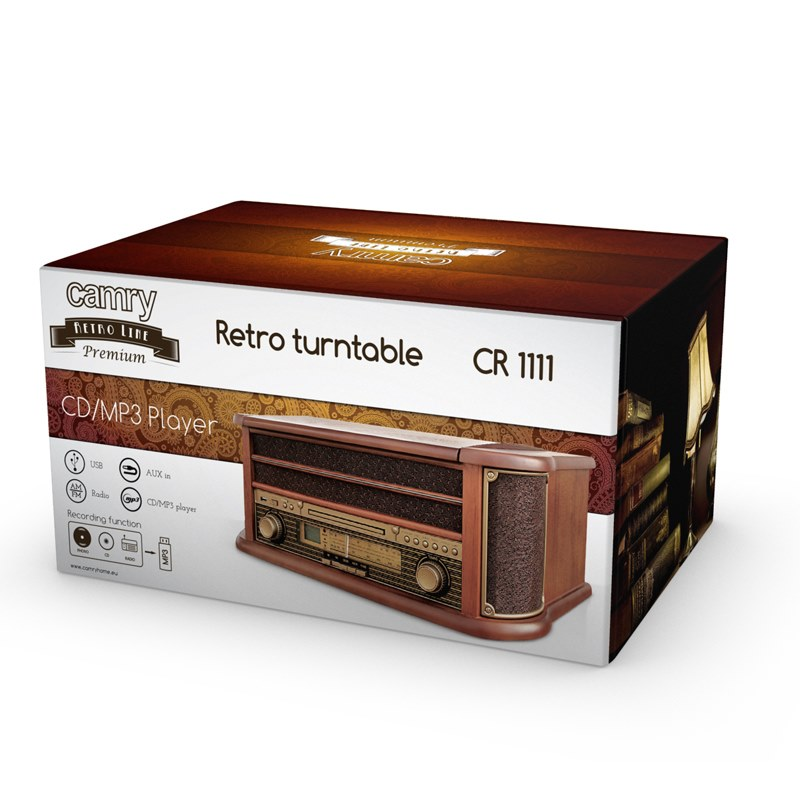 CAMRY CR 1111 Gramofón/Rádio/MP3/USB/CD retro