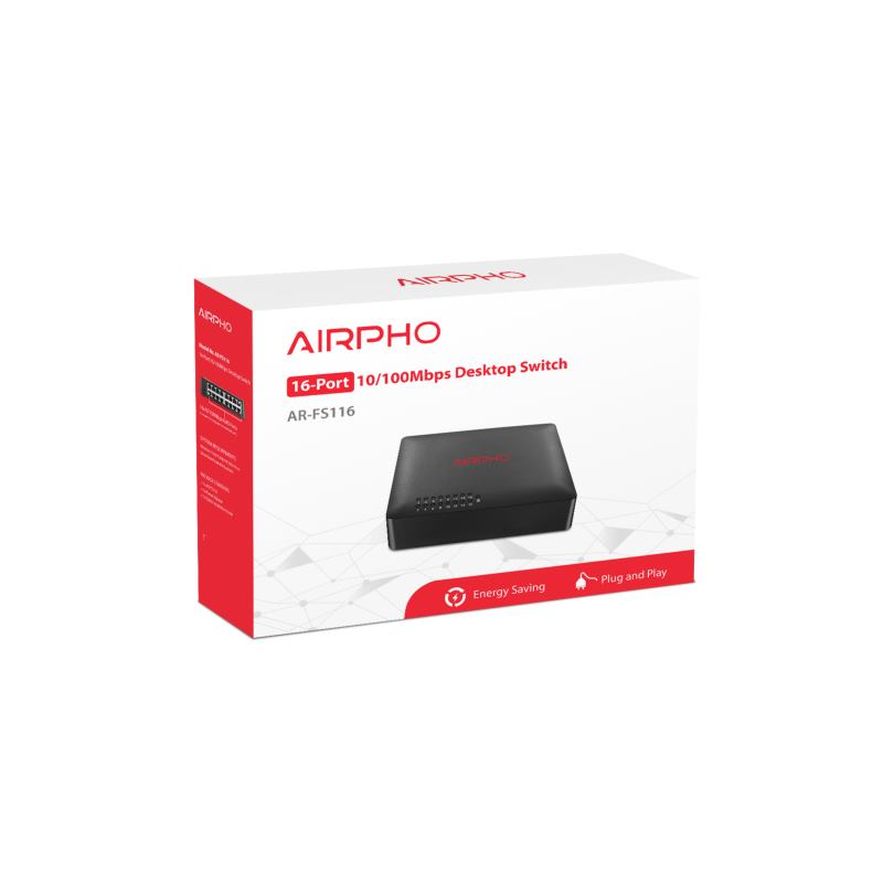 AIRPHO Switch 16-Port/100Mbps/Desk