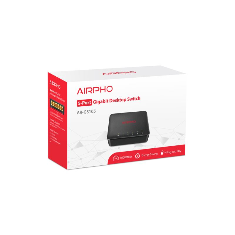 AIRPHO Switch 5-Port/1000Mbps/Desk