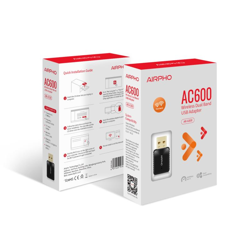 AIRPHO AC600 Wifi MINI USB adaptér