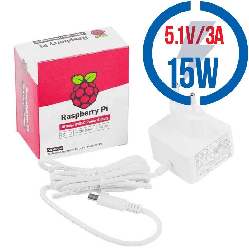 RASPBERRY USB-C adaptér Raspberry Pi 4B 3A biely