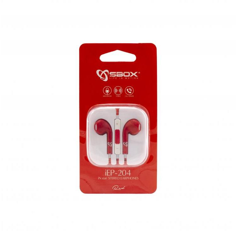 SBOX iEP-204R, Slúchadlá do uší s mikr. Červené
