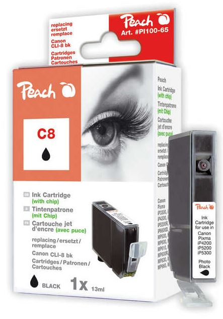 Cartridge Peach kom. CANON CLI-8Bk chip PI100-65