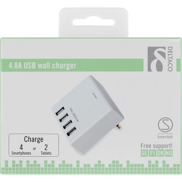 DELTACO 4x USB nabíjačka USB-AC124