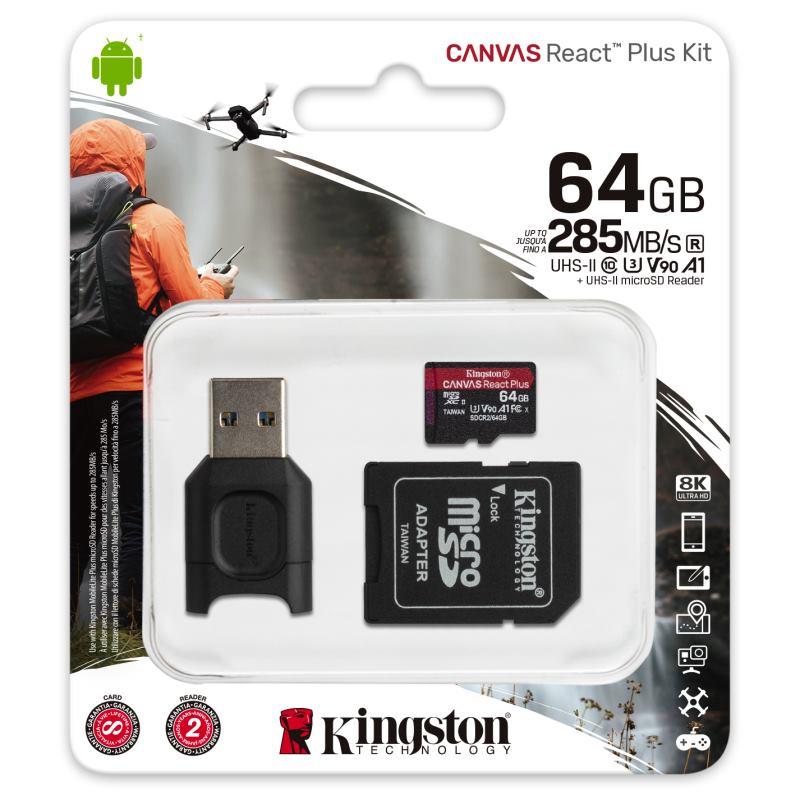 KINGSTON Micro SDXC React Plus 64GB Kit