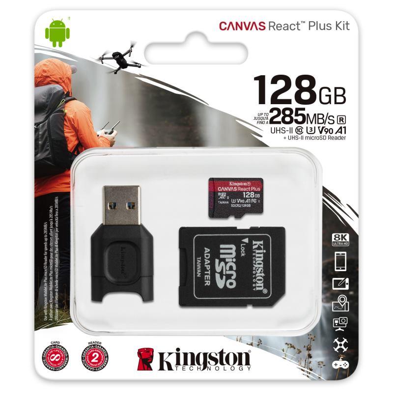 KINGSTON Micro SDXC React Plus 128GB Kit
