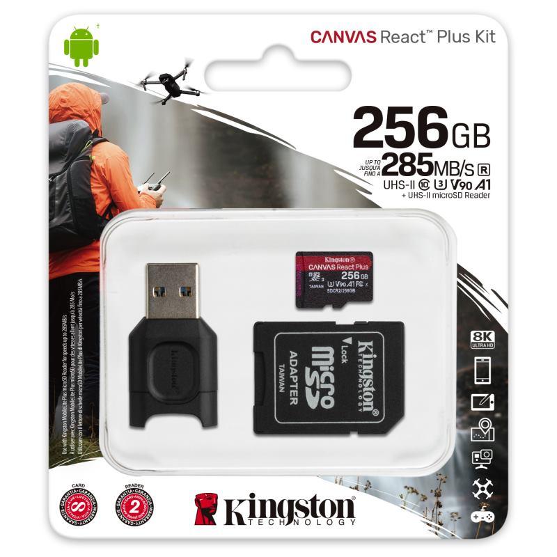 KINGSTON Micro SDXC React Plus 256GB Kit