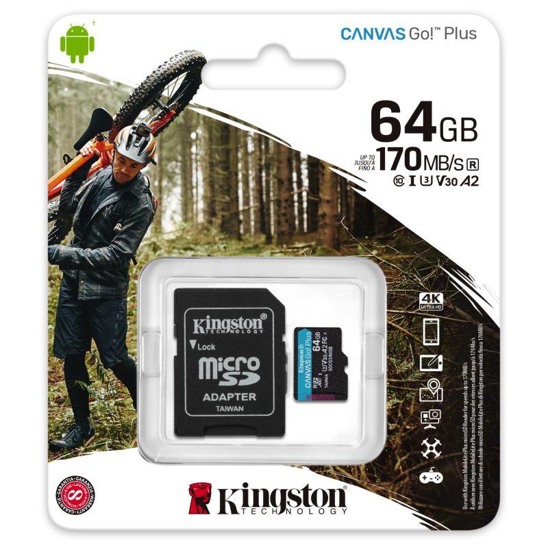 KINGSTON Micro SDXC CANVAS GO! Plus 64GB +adapt