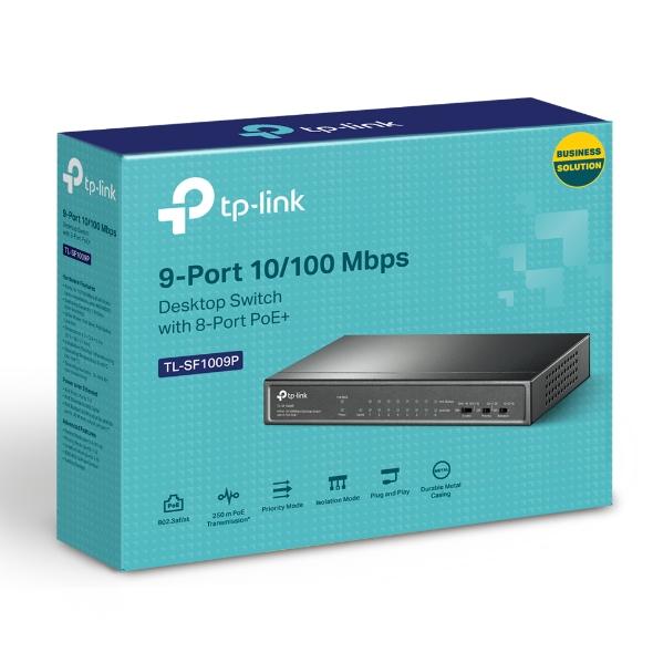 TP-Link TL-SF1009P, Switch 8-Port/100Mbps/Des/PoE+