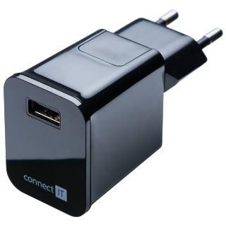 Connect IT adapt�r 1xUSB 2.1A cierny