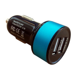 InHOUSE Auto USB Nabíjač MKF-USB2BB Black/Blue