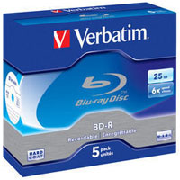 Verbatim BD-R SL 25GB 6x 5 Pack Jewel Case 43715